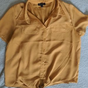 Mustard button down with tie front.